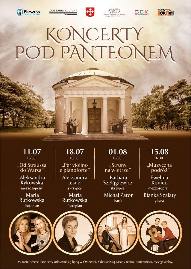 Plakat zapowiadający koncerty, w tle Panteon w sepii